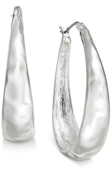 Style&Co. Style & Co Hammered Oval Hoop Earrings, Created for Macy's