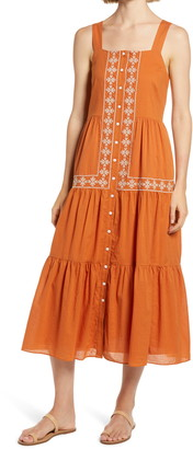 Madewell Embroidered Button Front Tiered Midi Dress