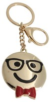 Trimmings Women's Key Ring Smiley Nerd- Gold/Black