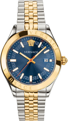 Versace Men's 42mm Hellenyium Two-Tone Bracelet Watch - Blue Dial