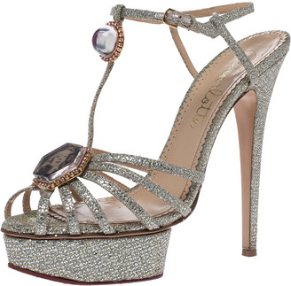 Charlotte Olympia Silver Glitter Fabric Leading Lady Platform Ankle Strap Sandals 41