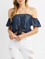 Charlotte Russe Chambray Off-The-Shoulder Tie Top