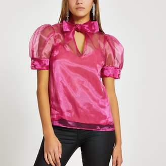 River Island Womens Pink bow neck puff sheer sleeve blouse