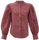 Nili Lotan Maisie Balloon-sleeve Checked Cotton Shirt - Womens - Red