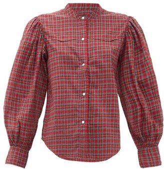 Nili Lotan Maisie Balloon-sleeve Checked Cotton Shirt - Red