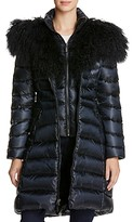 Dawn Levy Camille Mongolian Fur Trim Down Coat