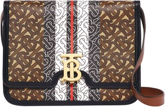 Burberry Medium TB Monogram Stripe E-Canvas Crossbody Bag