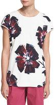 Lafayette 148 New York Nadette Short-Sleeve Floral-Print Top