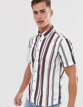 Esprit slim fit shirt short sleeve shirt with multi stripe-White