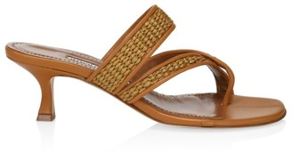 Manolo Blahnik Susa Kitten-Heel Woven Thong Sandals