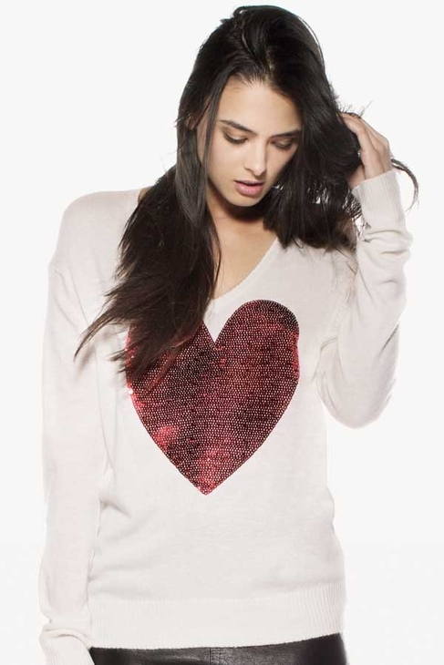 Wildfox Couture Sequin Red Heart V-Neck Sweater in Cream