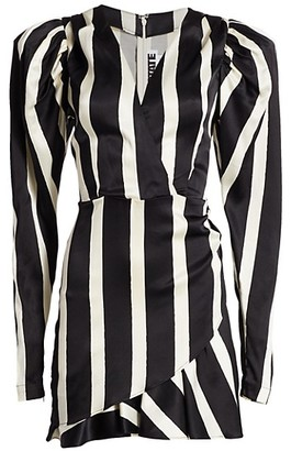 Rotate by Birger Christensen Aiken Puff-Sleeve Stripe Wrap Dress