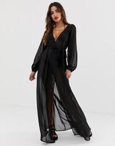 Asos Design DESIGN recycled long sleeve wrap tie chiffon maxi beach kimono in black
