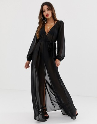 Asos Design DESIGN recycled long sleeve wrap tie chiffon maxi beach kimono in black
