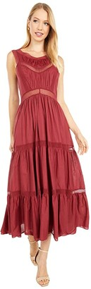 La Vie Rebecca Taylor Sleeveless Voile Lace Dress (Auburn) Women's Clothing