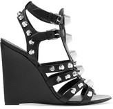 Balenciaga Studded Textured-leather Wedge Sandals - Black