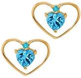 Gem Stone King 0.67 Ct Heart Shape Topaz Simulated Topaz 14k Yellow Gold Earrings