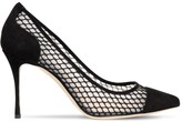 Thumbnail for your product : Sergio Rossi 90mm Godiva Suede & Mesh Pumps