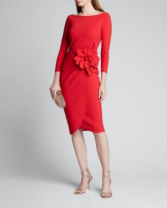 Chiara Boni Glenaly Boat-Neck 3/4-Sleeve Dress with Apron Skirt & Flower Detail
