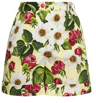 Dolce & Gabbana Poplin Floral-Print Cuffed Shorts