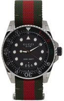 Gucci Silver and Green Xl Dive Watch