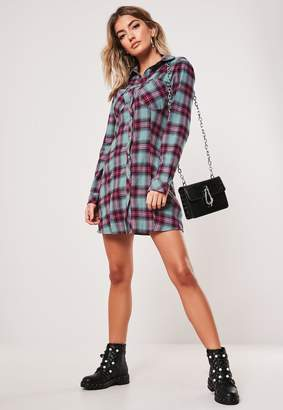 Missguided Green Check A Line Shirt Dress