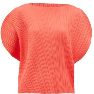 Pleats Please Issey Miyake Curved Shoulder Technical-pleated Jersey Top - Womens - Coral