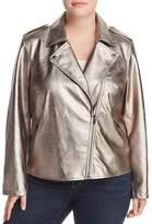 Bagatelle Plus Metallic Faux Leather Moto Jacket