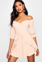 boohoo Ruffle Detail Wrap Skater Dress