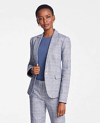 Ann Taylor The Petite One-Button Blazer in Glen Check
