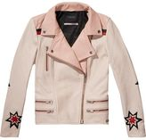 Scotch & Soda Embroidered Leather Jacket