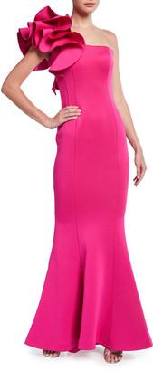 Jovani One-Shoulder Mermaid Scuba Gown