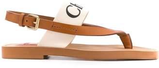 Chloé Milk White Logo Print Leather Sandals