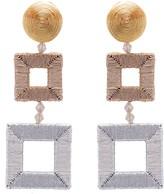 Oscar de la Renta Gold Wrapped Double Square Earrings