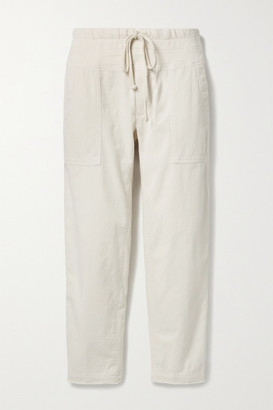 James Perse Cropped Jersey-trimmed Slub Cotton-blend Twill Tapered Pants - Ivory