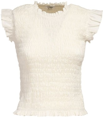 SIR the Label Lorena Ruffled & Ruched Linen Top