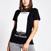 River Island Black printed cut out choker neck T-shirt