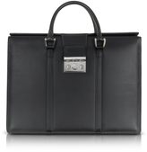 Pineider Power Elegance Double Handles Leather Briefcase