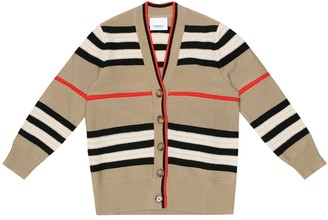 BURBERRY KIDS Icon stripe wool and cashmere cardigan