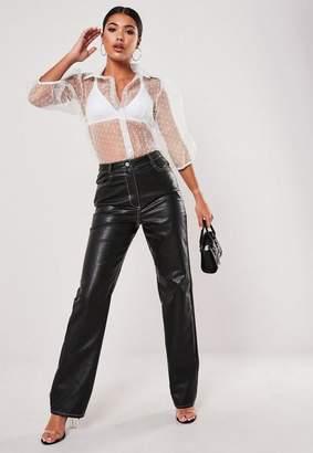 Missguided Black Faux Leather Contrast Stitch Pants