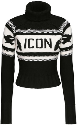 DSQUARED2 Icon Wool Knit Crop Turtleneck Sweater