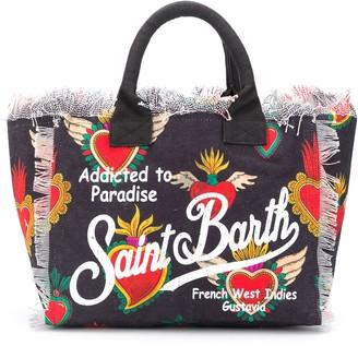 MC2 Saint Barth Heart Logo Print Beach Bag