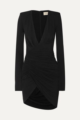 Alexandre Vauthier Ruched Draped Stretch-jersey Mini Dress - Black