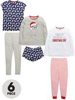 Very Girls Christmas Day Pug Pyjama Set (6 Piece)