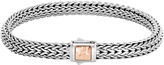 John Hardy Classic Chain 6.5MM Hammered Clasp Bracelet, Silver, 18K Rose