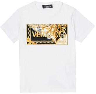 Versace Kids 90s Vintage-logo embroidered cotton T-shirt