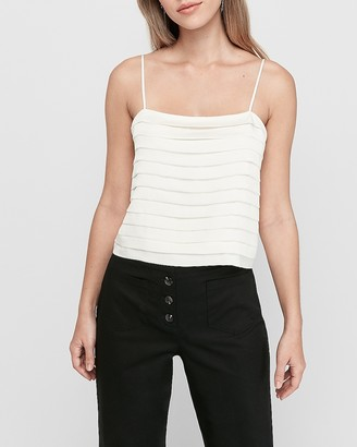 Express Pleated Square Neck Cropped Cami
