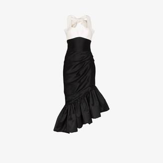 Rasario Two Tone Ruffled Silk Midi Dress