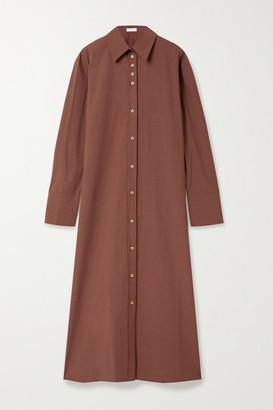 Deveaux Nye Cotton-poplin Midi Dress - Brick