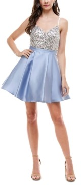 City Studios Juniors' Embellished Fit & Flare Dress
